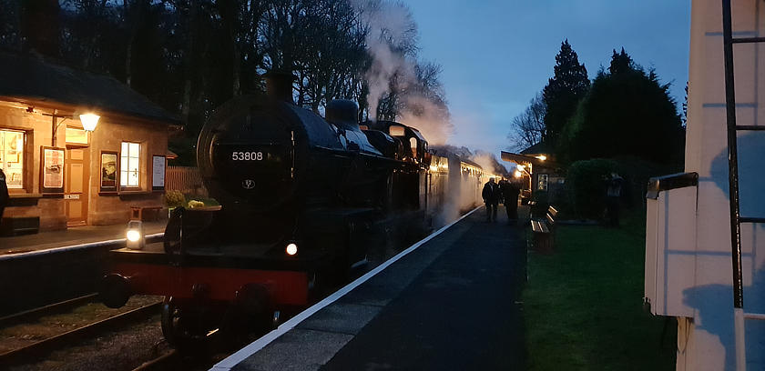 SDJR 7F 2-8-0 no 53808 waits at Crowcombe Heathfield on 29 December 2018.  © Harry McConnell
