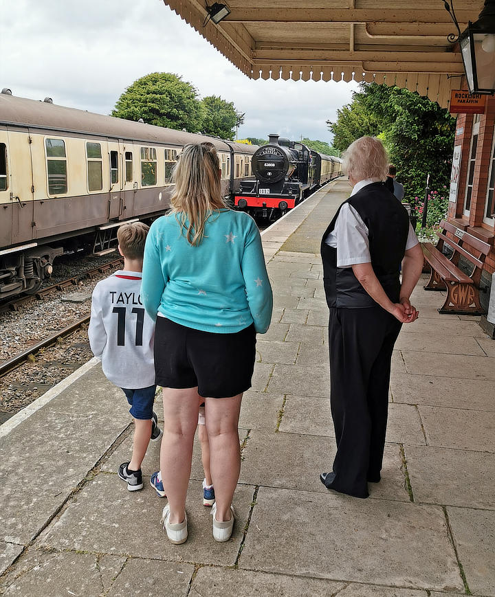 Snapshot  An audience for SDJR 2-8-0 no 53808 as it slows for the stop at Blue Anchor Station on 2 June 2019.