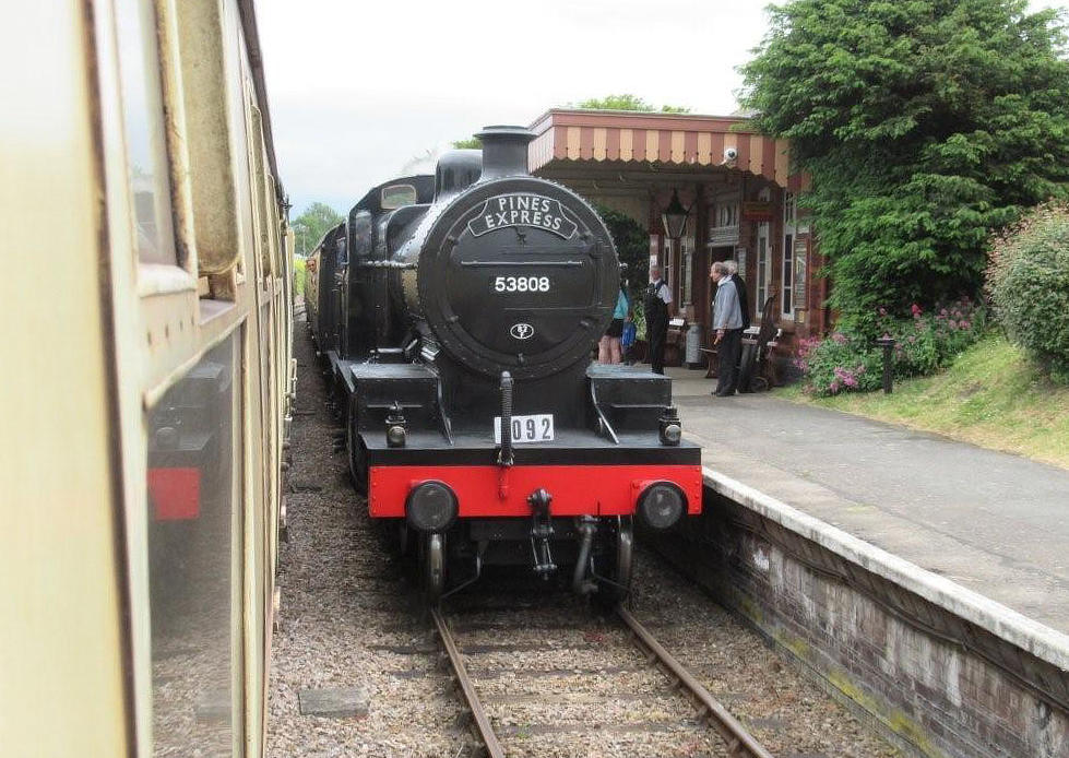 SDJR 2-8-0 no 53808 arriving at Blue Anchor Station on 2 June 2019.