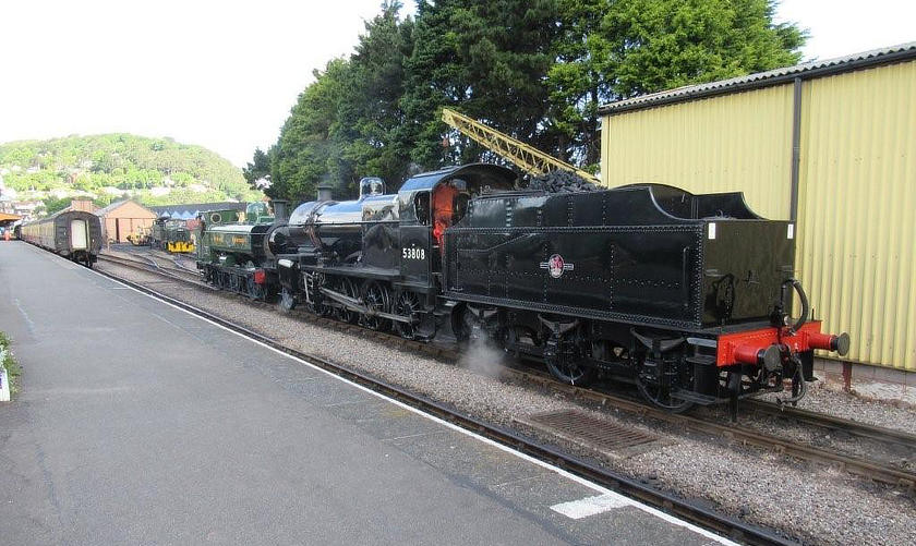 SDJR 2-8-0 no 53808 shunting GWR 0-6-0PT no 7752 at Minehead on 5 June 2019.