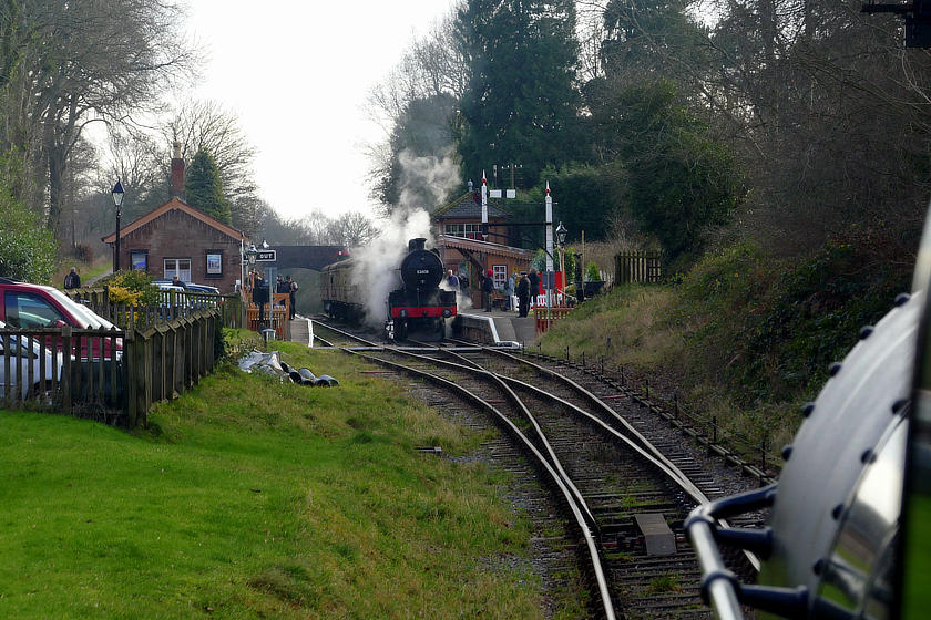 The view from the footplate of WSR 2-6-0 no 9351 on the approach to Crowcombe Heathfield on 29 December 2019. No 53808 waits with a Down train.  © Tim Edmonds
